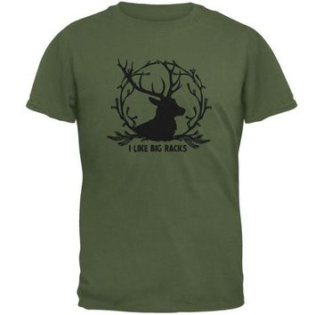 LMFCY8 Buck Deer I Like Big Racks Funny Pun Mens T Shirt