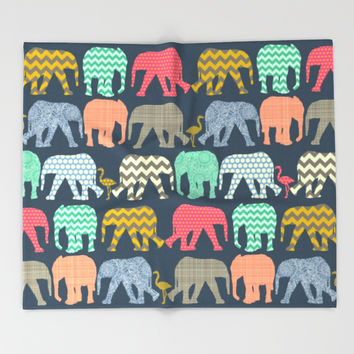 baby elephants and flamingos Throw Blanket by Sharon Turner