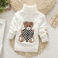 2015 Baby Girls Boys jumper Autumn Winter Cartoon Sweaters Children Kids Knitted Pullover Warm Outerwear Babi Turtleneck Sweater