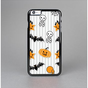 The Halloween Icons Over Gray & White Striped Surface  Skin-Sert Case for the Apple iPhone 6 Plus