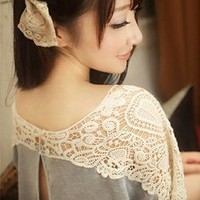 Women Fashion Sweet Cute Hollow Out Lace Flower Batwing Tee Loose T-shirt Top
