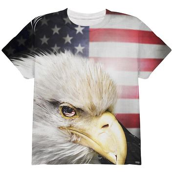 4th of July American Bald Eagle Eye Flag All Over Youth T Shirt