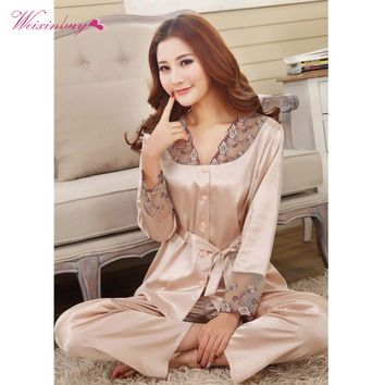Lovers Sleepwear Silk Pajamas Set