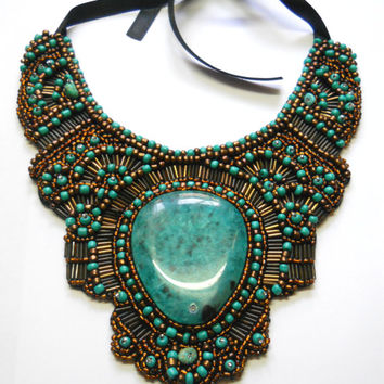 Turquoise Bronze Green Watter drop bead embroidery bib collar morrocan egypt ethnic inspired  agate stone necklace
