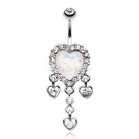 Brilliant Opal Sparkle Heart Dangle Belly Button Ring (Clear/White)
