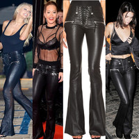 New 2017 Celebrity Punk Lace Up Faux Leather Flare Pants