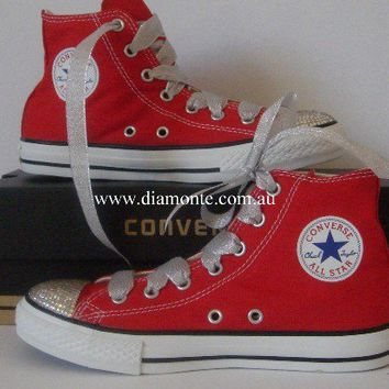 Red Converse Shoes Featuring Clear Swarovski Crystals CO28