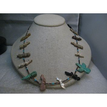 Vintage Carved Fetish Heishi Beaded Necklace, Thunderbird, Turquoise, Howlite, Onyx, MOP, 28""