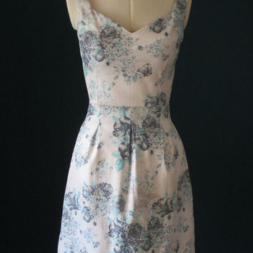 Summer dress, floral dress, blue florals, day dress, sweetheart dress, cotton dress