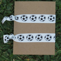 Custom 7 U Pick Colors SOCCER Futbol Team Spirit Knot Hair Ties Stretch Fold Over Elastic Pony Tail Holder Bracelet