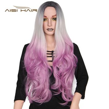 It's a wig  Long Wavy Purple Synthetic Wigs Ombre  Black for Women 24 inches Three Tone Heat Resistant Fiber Hair