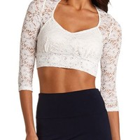 3/4 SLEEVE LACE CROP TOP