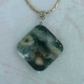 Moss Agate Pendant Necklace Sterling Silver Bail Jewelry