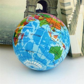 ICIK272 Funny Brief Earth Globe Stress Relief Bouncy Foam Ball Planet World Map Foam Stress Relief Bouncy Press Ball Geography Toy