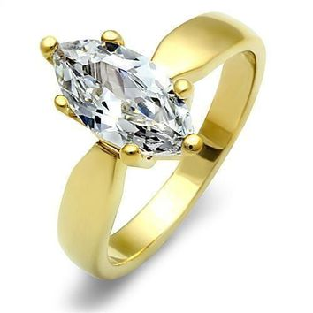 Marquise Solitaire CZ Gold EP Stainless Steel Engagement Wedding Promise  Ring