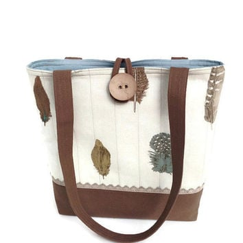 Beige handbag, Brown hand bag, Quilted purse, Tote bag brown, Nature lover, Bird bag, Country woman, Country chic, Knitting yarn tote