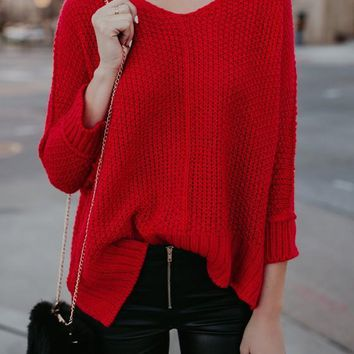 Red Knit Side Slit Christmas V-neck Long Sleeve Casual Sweaters Pullover