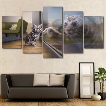 5 Panel Animal Cat Tiger Glass Living Room Canvas Print Wall Art