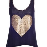 Gold Heart  Top