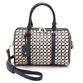 Tory Burch Robinson Leather Woven Small Doreen Satchel Handbag in Multi Navy