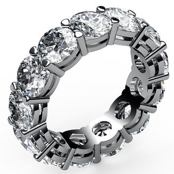 Anniversary Gift, Eternity Ring, Eternity Band, 18K White Gold, 6.50 carat, Natural Diamonds, Ring size 5, April Birthstone