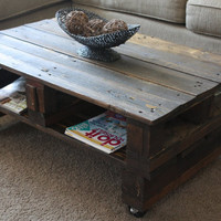 Early Spring SPECIAL. The Helena. Custom (made to order) Dark Stained Coffee Table. Made of reclaimed wood. Free Shipping.