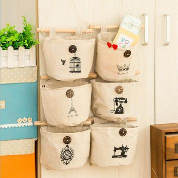 6 Styles Wall Sundry Fabric Cotton Pocket Hanging Holder Storage Bags Rack makeup organizer storage box organizador
