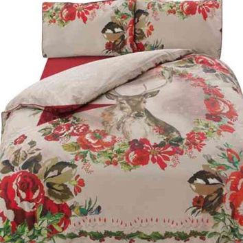 MARKS & SPENCER - FRAMED STAG BEDDING SET - M&S - SINGLE DUVET SET & CASE - New