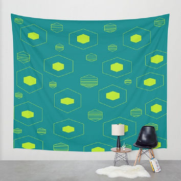 Teal Lime Wall Tapestry Teal Lime Wall Hanging Retro Teal Lime Wall Tapestry Hexagon Pattern Tapestry Lime Hexagon Tapestry Teal Hexagon