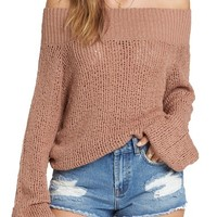 Billabong Rolled Up Off the Shoulder Sweater | Nordstrom