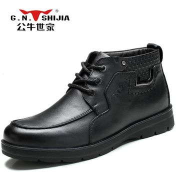 G.N.SHI JIA High Quality Full Grain Leather Men's Ankle Boots Black Winter Warm Casual Boots Motorcycle Male Martin Boots 888202