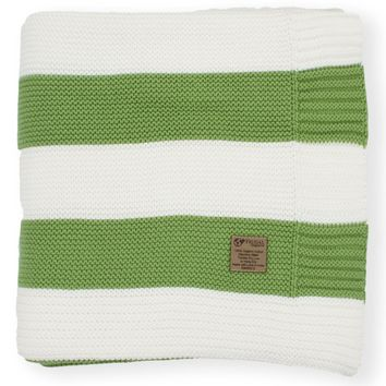 Sage Green & Cream Stripe Knit Organic Cotton Blanket