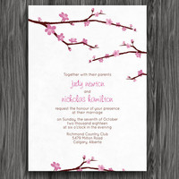 Pink Cherry Blossoms Customizable Printable Wedding Invite