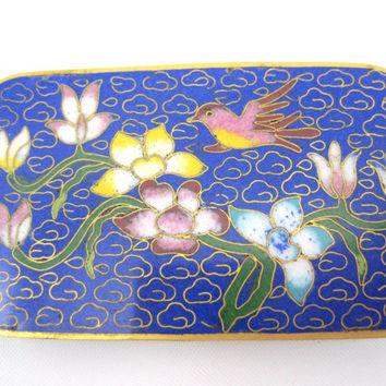 Chinese Cloisonne Buckle - Blue Bird Flower Enamel Belt Buckle Brass