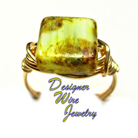DWJ0324 Stunning Sea Foam Picasso Czech Glass Gold Wire Wrapped Ring All Sizes