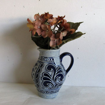 Marzi Remy 70s Wine Pitcher Cobalt Blue Salt Glazed Vase 1970s M n R Germany Stoneware Wine Decanter