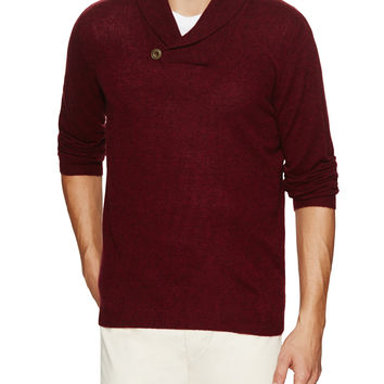 Autumn Cashmere Men's Cashmere Shawl Collar Sweater - Red -