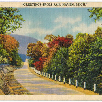 Michigan postcard | vintage postcard | Fair Haven | rustic decor | rural decoration | autumn wall art | 1930s | linen postcard