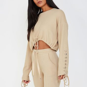 Rib Textured Lace-Up Jumper - Beige