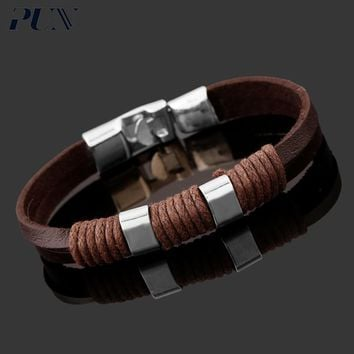 PUN punk mens bracelets 2018 personalized charm couple leather braided bracelet men male female femme braclet hand chain brasle