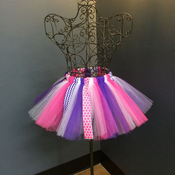Girls Birthday Tutu - Pink and Purple Chevron - Polka Dot - Rockstar - Customize Colors - Princess - Birthday Gift - Dance Class