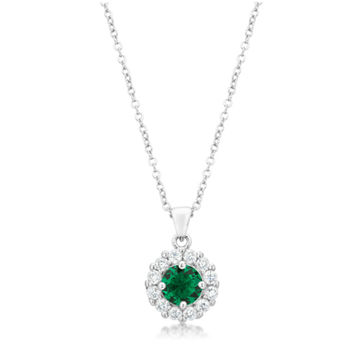 Belle Emerald Green Round Halo Pendant Necklace | 4ct | Cubic Zirconia