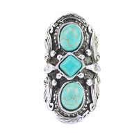 2016 Vintage Bohemian Turquoise Ring For Women Antique Silver Alloy Carving Ring Fashion Jewelry 42*21MM