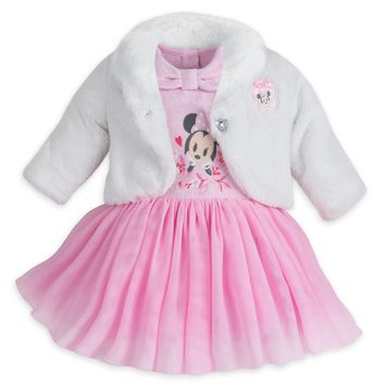 Original Disney Store Minnie Mouse Fancy Party Tutu Dress Set - Baby Girl 18-24M