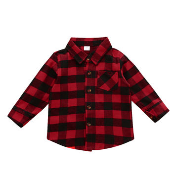 2016 Baby Kids Blouses Boys Clothes Girls Long Sleeve Shirt Baby Plaids Checks Tops Blouse Outfits