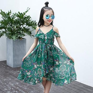 Girls Children Summer Sleeveless Chiffon Prom Clothes Infant Kid Princess Baby V-neck Next Party Beach Floral Dress