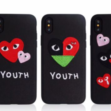 Play Boy Heart embroidery love eye iPhone X iPhone8 soft shell