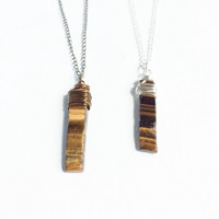 Tigers Eye Healing Stone Necklace, Crystal Jewelry, Wire Wrapped Crystal Necklace, Tiger Eye Pendant Necklace, Healing Crystal Jewelry