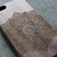 mandala custom iphone 6 plus case, iphone 6 case wood, wood iphone 6 plus case,iphone 6 cover