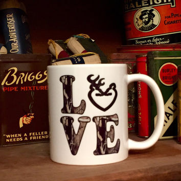 Camo LOVE Coffee Mug with Buck and Doe Heart